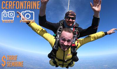 Bon cadeau pour un saut en tandem à Cerfontaine avec reportage vidéo et photos valable en semaine